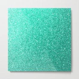 Aquamarine Aqua Blue Sparkly Glitter Metal Print