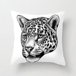 Jaguar - ink illustration Throw Pillow