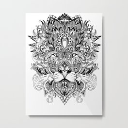 Black And White Geometric pattern mandala lion face Metal Print
