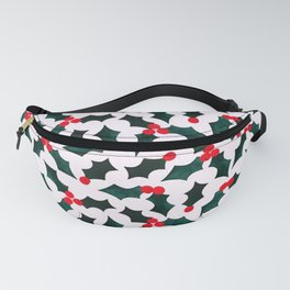 Christmas Pattern 5 Holly tree leaves and fruits Fanny Pack