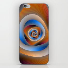 Spiral Labyrinth in Orange and Blue iPhone Skin