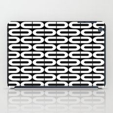 Contemporary Black and White Split Ovals Pattern iPad Case