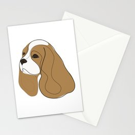 King Charles Cavalier - Spaniel - one line drawing Stationery Cards