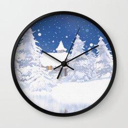 Winter landscape, winter scene Wall Clock