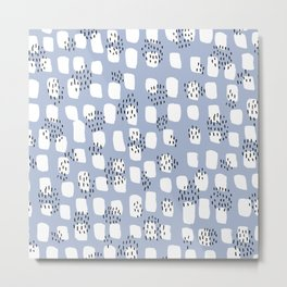 Spotted series messy abstract dashes blue black and white raw paint spots Metal Print