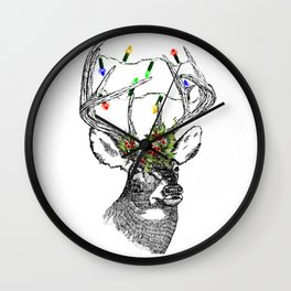Christmas Stag with holly and fairy lights Wall Clock