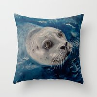 seal Throw Pillows featuring Seal by Andrea Vreken Art