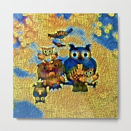 Funny Owls Family Abstract Metal Print