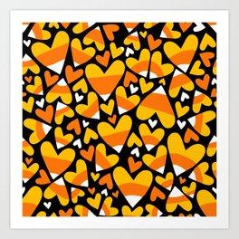 Halloween Candy Corn Hearts Art Print