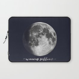 Waxing Gibbous Moon on Navy English Laptop Sleeve