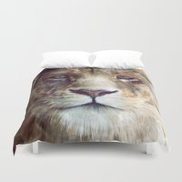 apple Duvet Covers featuring Lion // Majesty by Amy Hamilton
