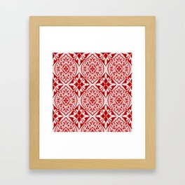 BOHEMIAN PALACE, ORNATE DAMASK: RED and WHITE Framed Art Print
