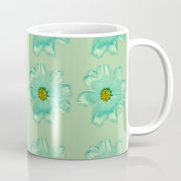 Mint Green Real Daisy Flowers Pattern Coffee Mug
