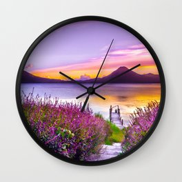Beautiful Scenery of Lake Atitlan  Wall Clock
