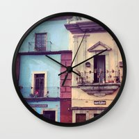 mexican Wall Clocks featuring Mexican houses by OPPhotos - where poetry meets photos