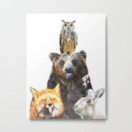 Woodland Animal Friends Metal Print