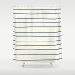 Dusk Sky Blue 27-23 Hand Drawn Horizontal Lines on Dover White 33-6 Shower Curtain