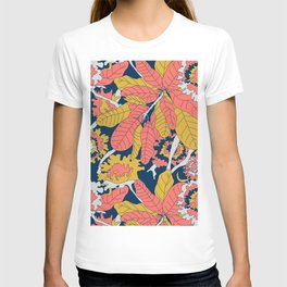 Limited Color Palette Bold Jungle Leaf Floral T-shirt