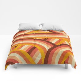 Vintage Orange 70's Style Rainbow Stripes Comforters