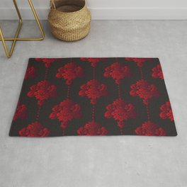 Red damask flowers and pearls on dark background Rug