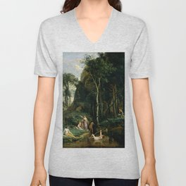 """Jean-Baptiste-Camille Corot """"Diana and Actaeon (Diana Surprised in Her Bath)"""" Unisex V-Neck"""