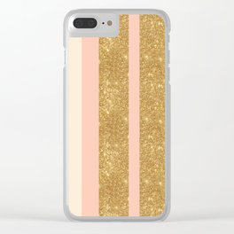 Pink, Gold Sparkle, and White Stripe Clear iPhone Case