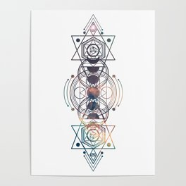 Light Moon Phase Nebula Totem Poster