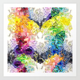 Rainbow Spectrum heart extra dense pattern Art Print