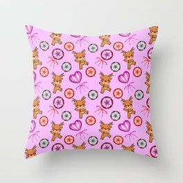 Funny red-nosed baby reindeer, vintage retro candy lollipops. Pink cute Christmas December pattern Throw Pillow