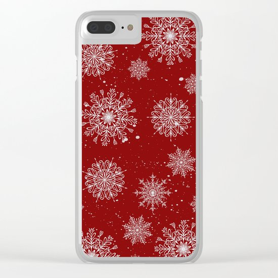 Assorted White Snowflakes On Red Background Clear iPhone Case