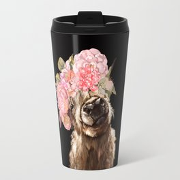Highland Cow With Flower Crown Black Travel Mug