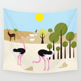 Ostriches in the desert Wall Tapestry