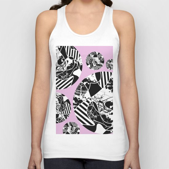Black And White Bubbles 2 - Multi patterned, multi textured stripes, paint splats and marble on pink Unisex Tank Top