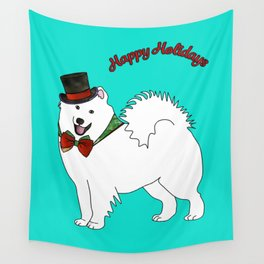 Snazzy Holiday Samoyed Wall Tapestry