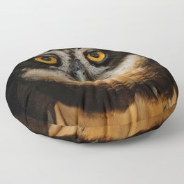 Trading Glances with a Spectacled Owl Floor Pillow