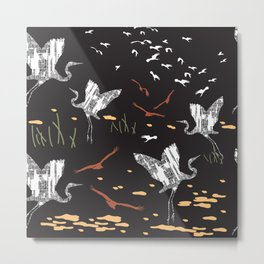 Flying Egrets With Black Background Metal Print