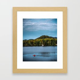 Lake Placid - Red Kayak Framed Art Print