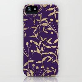 Stylish elegant purple gold foil berries leaves foliage iPhone Case