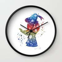 donald duck Wall Clocks featuring Donald Duck Disneys by Carma Zoe
