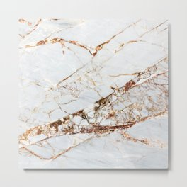 Manhattan Gold Marble Stone Metal Print