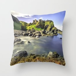 Dunluce Castle, Ireland. (Painting) Throw Pillow