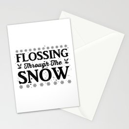 Flossing Through The Snow bw Stationery Cards