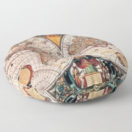 Gorgeous Old World Geographical Map Floor Pillow
