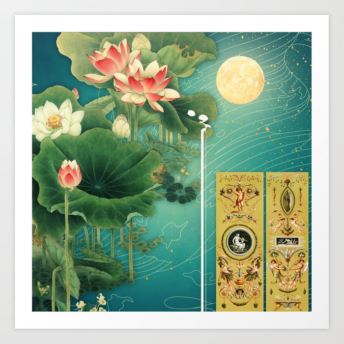 Chinese Lotus Full Moon Garden :: Fine Art Collage Art Print