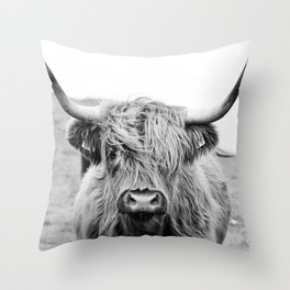 Close-up view of a highland cattle Throw Pillow