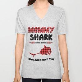 Mommy Shark Needs A Drink Unisex V-Neck