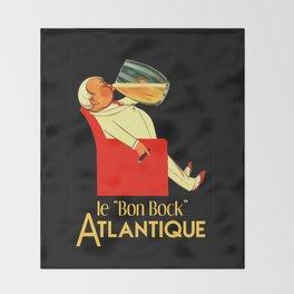 Retro French beer ad Le Bon Bock Throw Blanket
