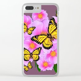 PINK ROSES YELLOW MONARCH PUCE ART Clear iPhone Case