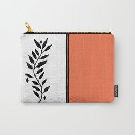Color Block Orange White Botanical Minimalist Print Carry-All Pouch