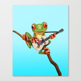 Tree Frog Playing Acoustic Guitar with Flag of South Korea Canvas Print